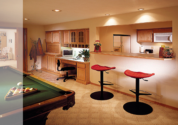 Photo of a comfortable, nicely redesigned Basement